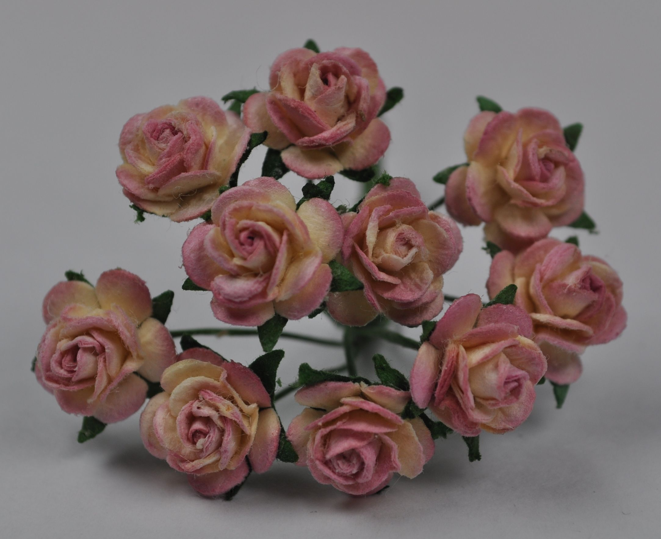 1 Cm Dusky Pink Mulberry Paper Roses
