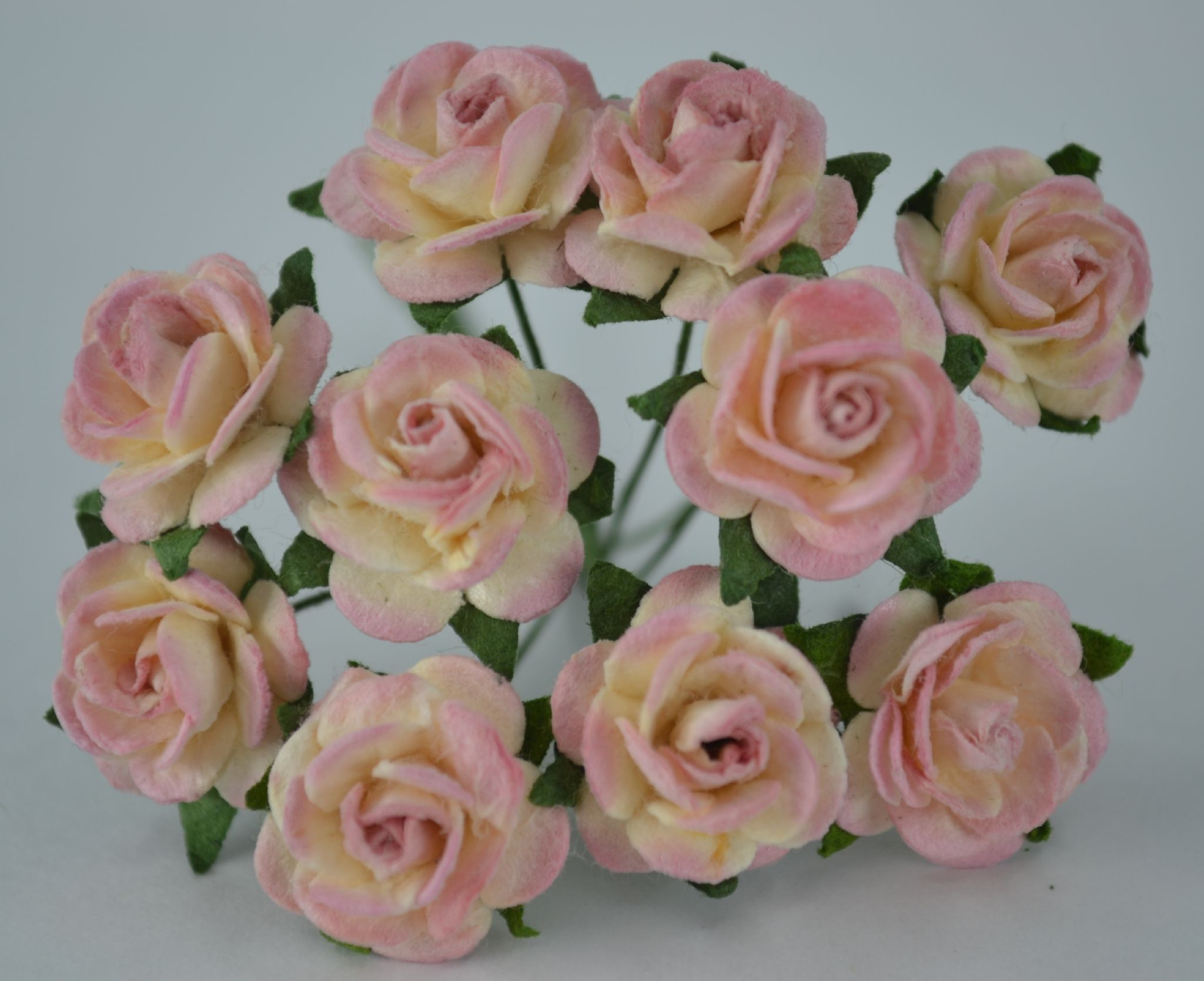15cm Dark Dusky Pink Mulberry Paper Roses