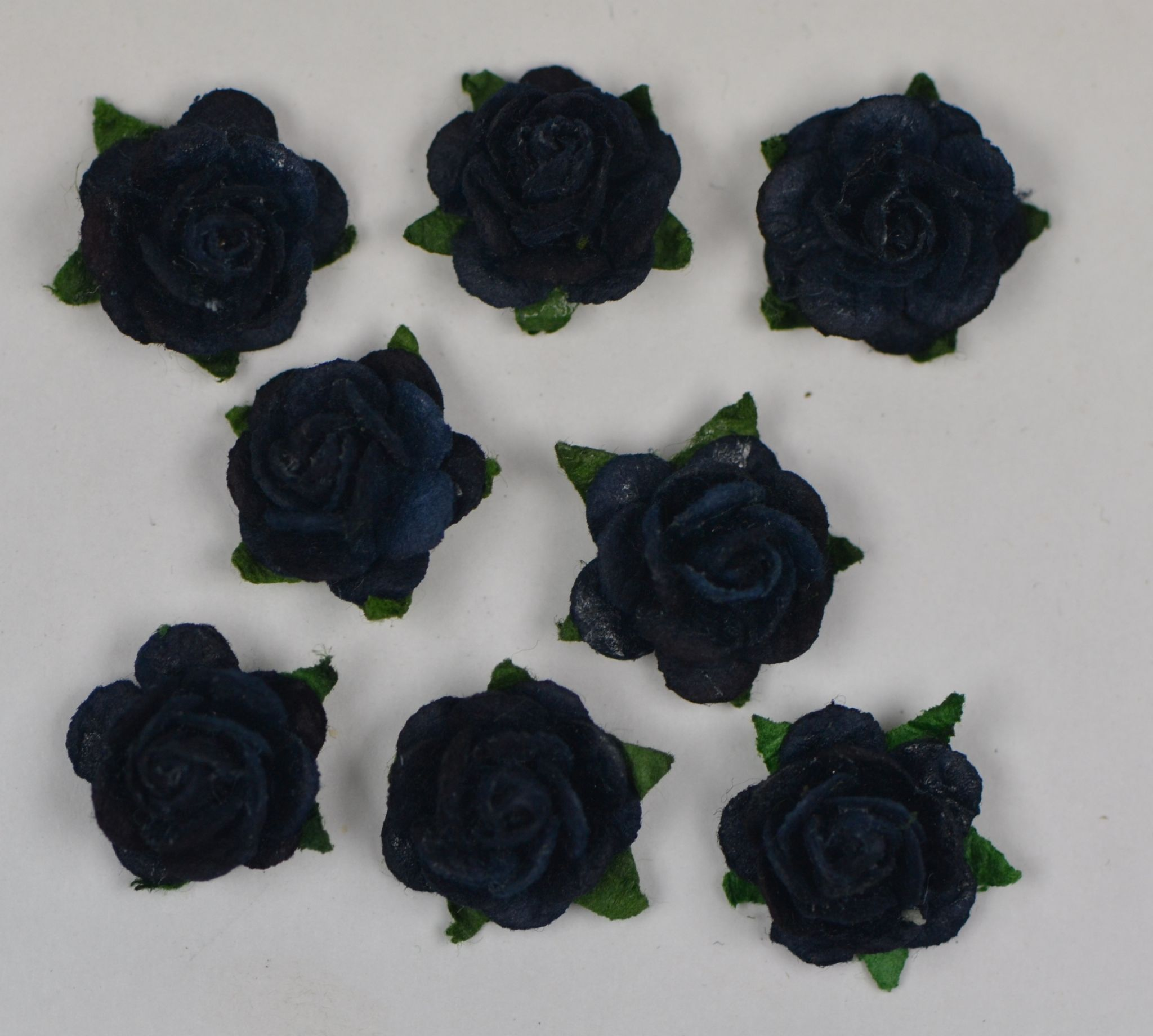 15cm Midnight Blue Black Mulberry Paper Roses Only Flower Head
