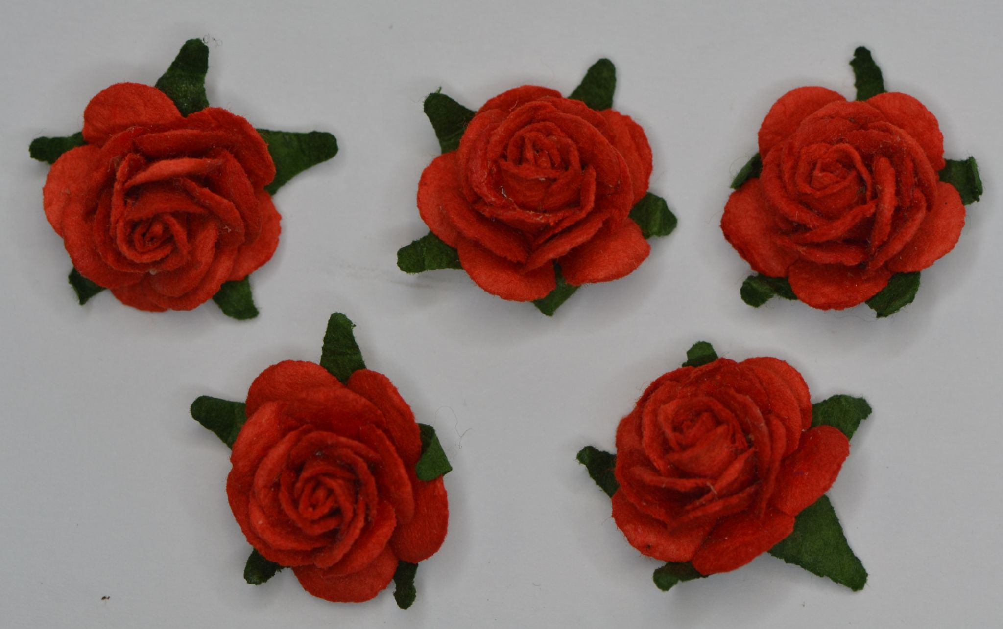 25cm Red Mulberry Paper Roses Only Flower Head