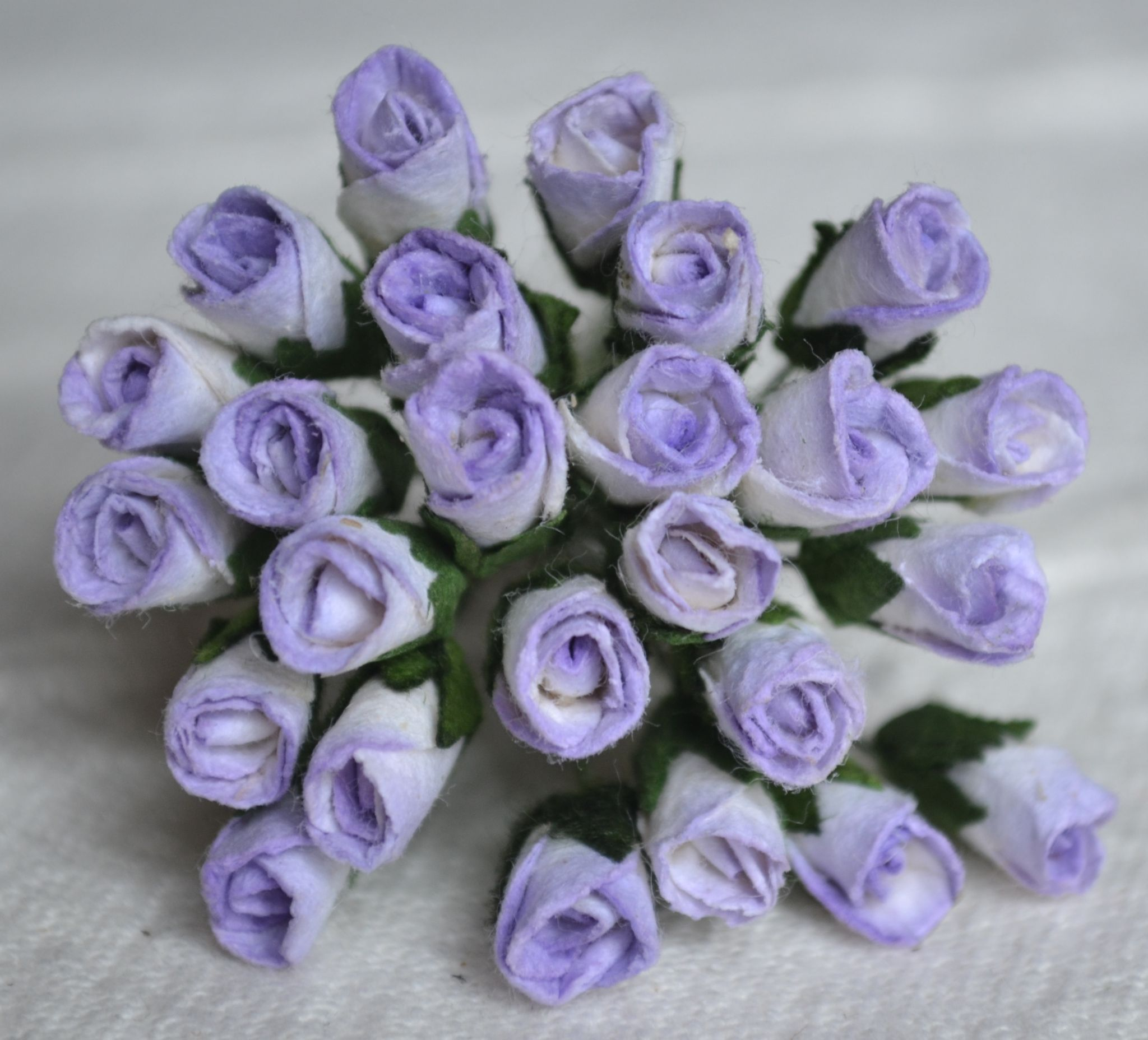 6mm Light Lilac Rose Buds L Mulberry Paper Flowers