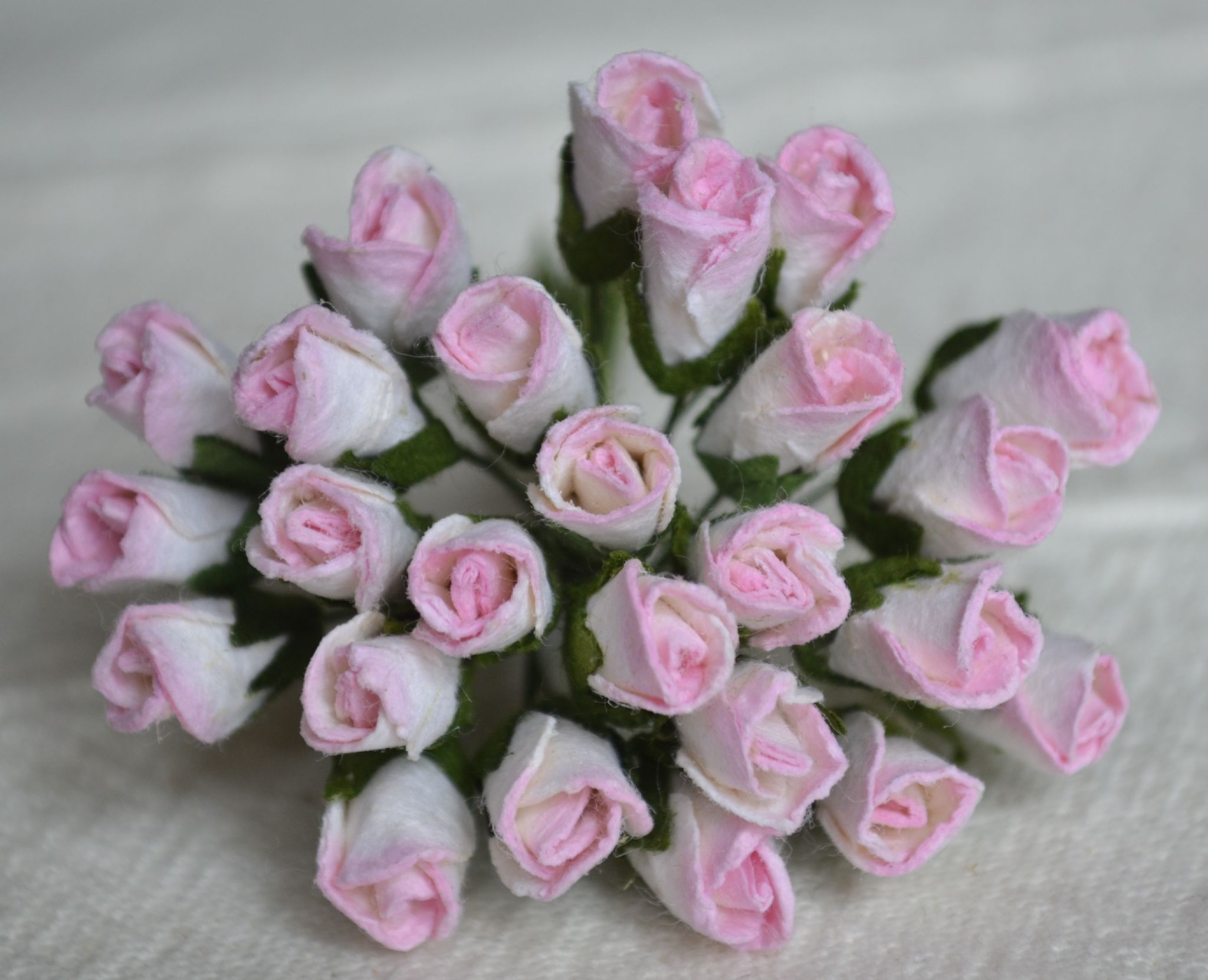 6mm Light Rosy Pink Rose Buds L Mulberry Paper Flowers