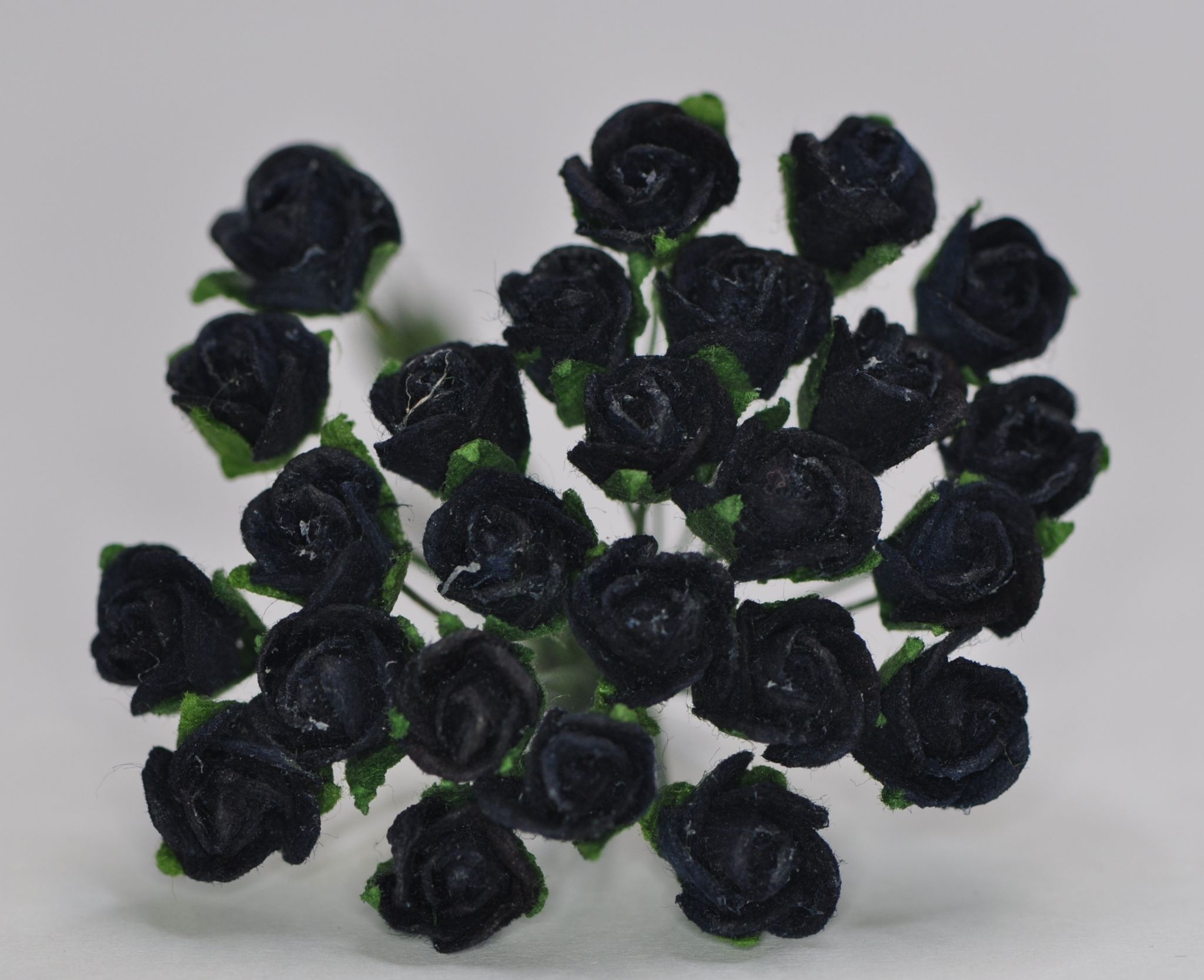 8mm Midnight Blue Black Semi Open Rose Buds Mulberry Paper Flowers