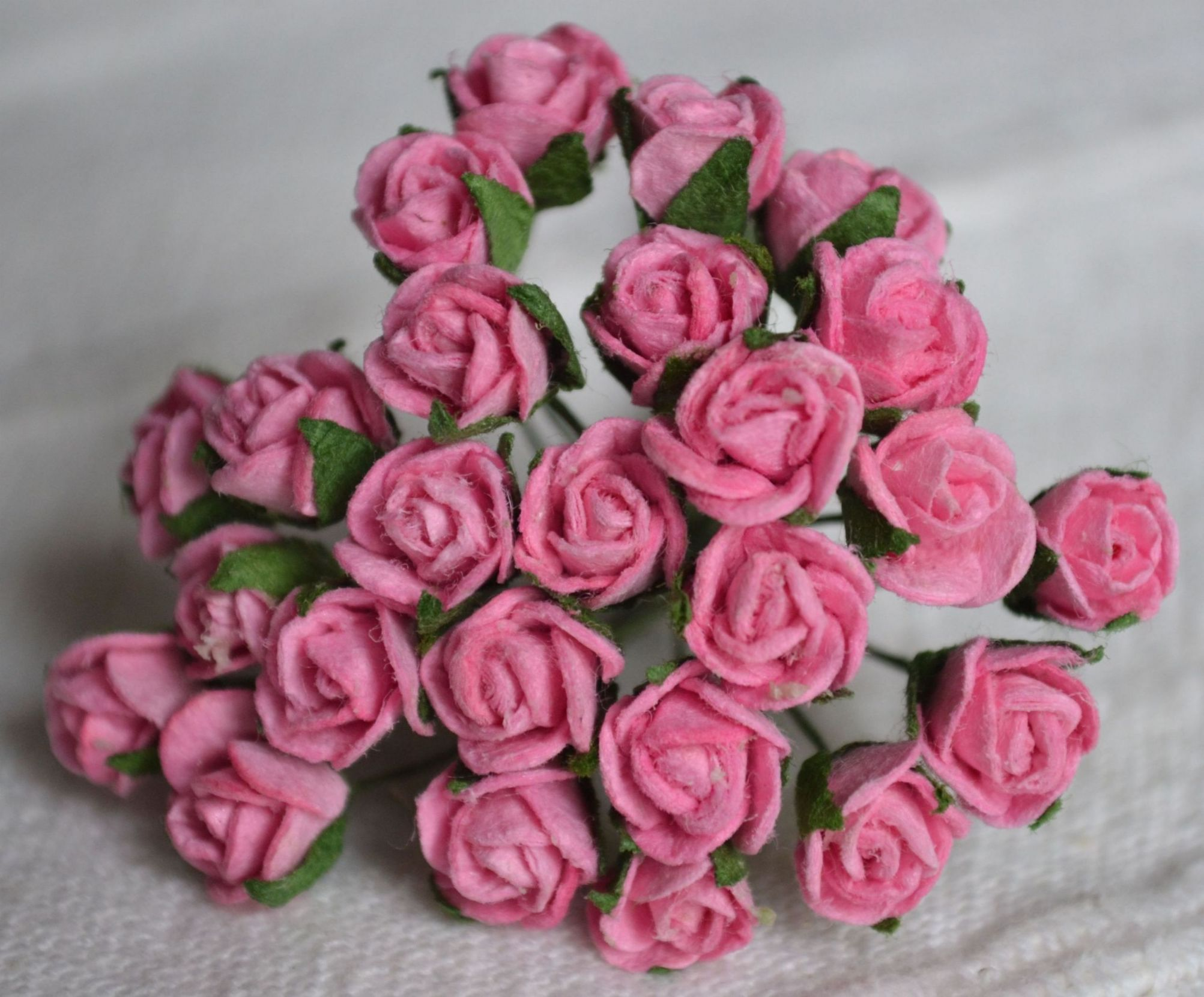 8mm Pink Semi Open Rose Buds Mulberry Paper Flowers