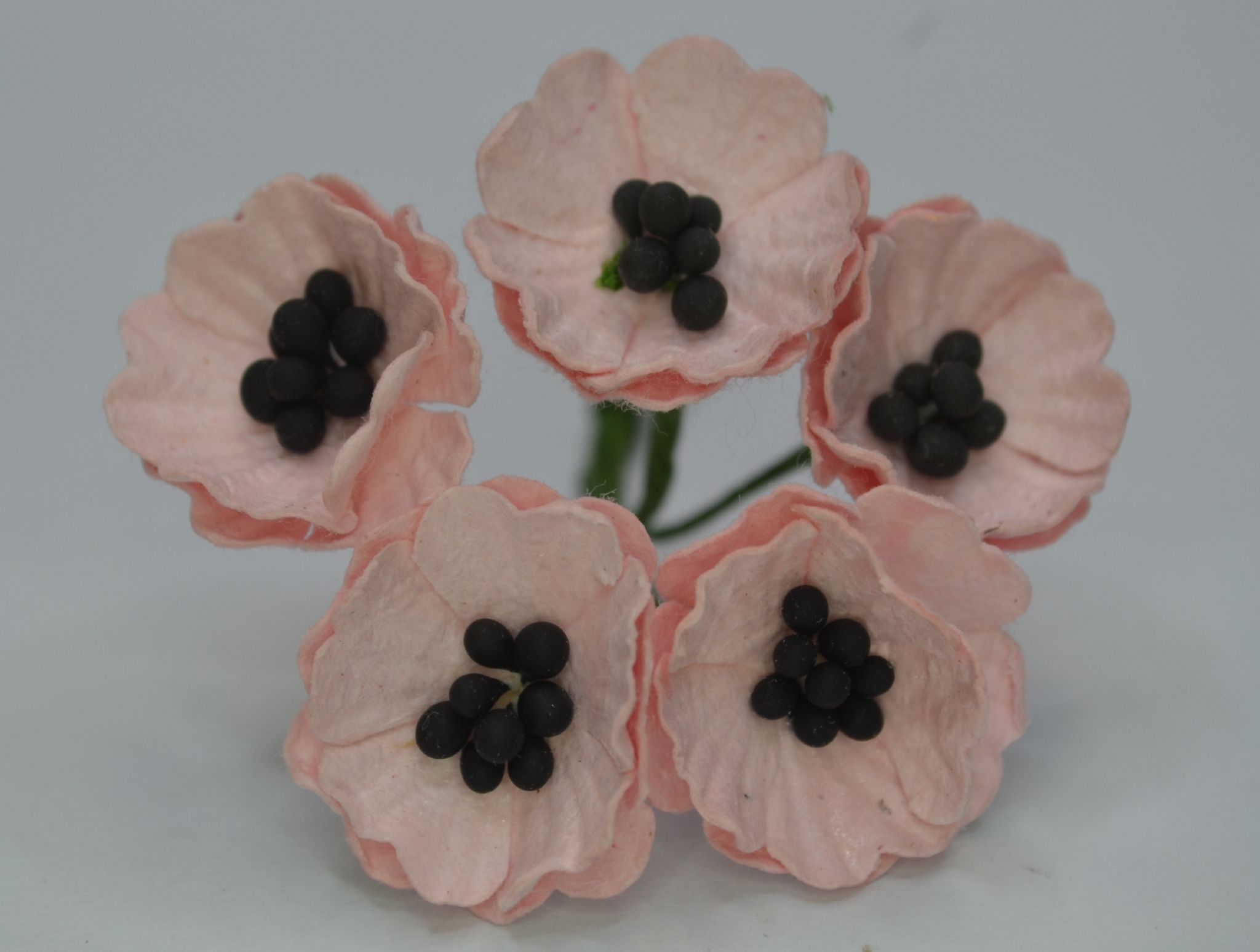 Peach Pink Poppy Papaver 18 Cm Mulberry Paper Flowers